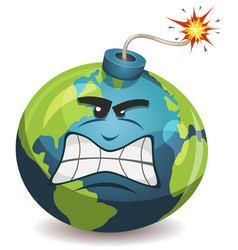 Earth planet warning bomb character vector