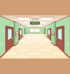 empty corridor with closed doors and windows vector image