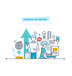 financial accountant financial workers analyzing vector image