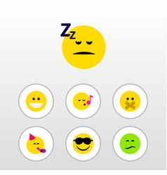 Flat icon expression set of asleep descant party vector