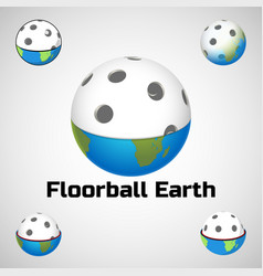 floorball earth logo for team and cup vector image