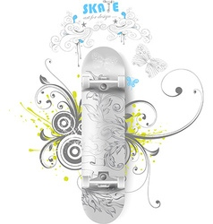 Floral Skate Board Design vector
