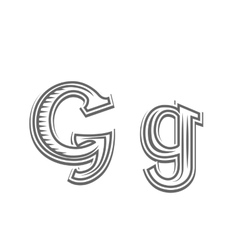 Font tattoo engraving letter G vector image