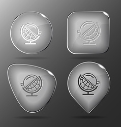 Globe and loupe Glass buttons vector image