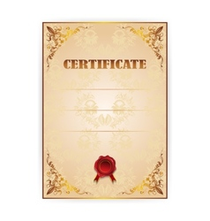 gold certificate with a laurel wreath vector image