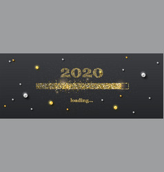 golden loading bar with transition to 2020 new vector image