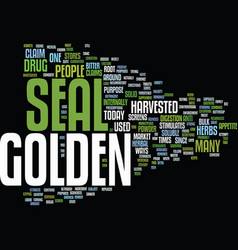 Golden seal text background word cloud concept vector