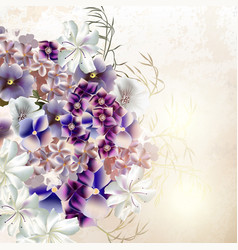 grunge background with purple flowers vector image