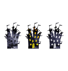 halloween silhouettes of watercolor castles vector image