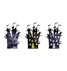 halloween silhouettes watercolor castles vector image