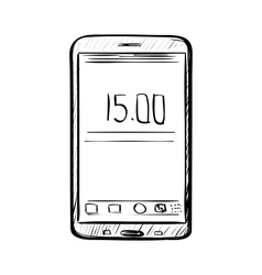 Hand drawn sketch of doodle phone vector image