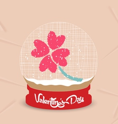 Happy valentines day with four leaves of grass vector