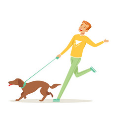 Happy young man running with dog outdoors human s vector