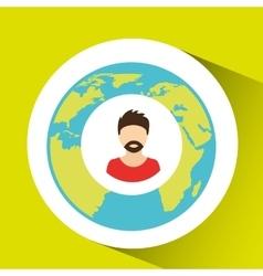 hipster man social media world map vector image