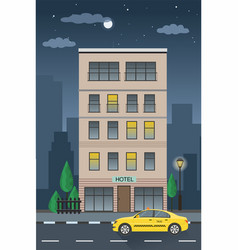 Hotel building and taxi service nighttime vector
