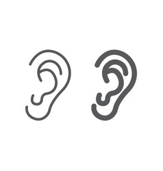 Human ear line and glyph icon anatomy vector