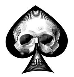 Human skull full face in ace spades frame vector