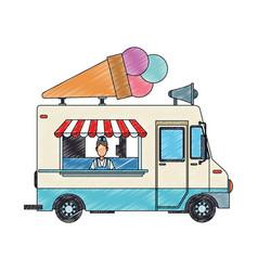 Ice cream truck and man scribble vector