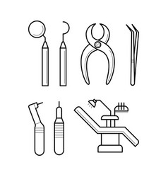 icons of clinic stomatology equipment vector image