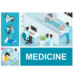 isometric medical treatment composition vector image