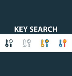 Key search icon set four simple symbols in vector