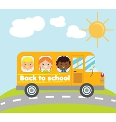 Kids traveling in yellow school bus vector