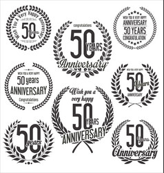 Laurel wreaths anniversary collection 50 years vector