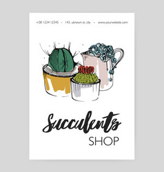 Leaflet template with several different succulents vector