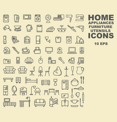 linear icons of furniture appliances and vector image