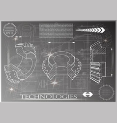Machine-building drawings on a gray background vector