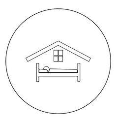 man in bed hotel icon black color in circle vector image