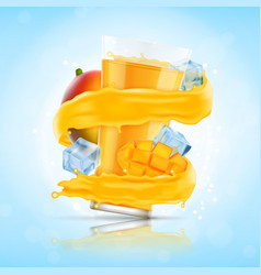 mango juice splash vector image