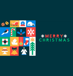 mery christmas flat mosaic xmas ornament icon card vector image