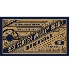 Old label design for Whiskey vector image