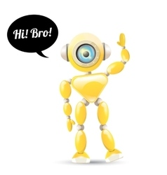 Orange cartoon robot isolated on white vector