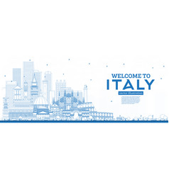 outline welcome to italy skyline with blue vector image