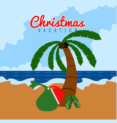 Palm tree with a present bag summer vacation vector
