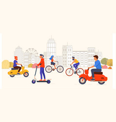 people riding modern personal transportation in vector image