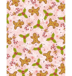 Pink wrapping paper with christmas elements vector