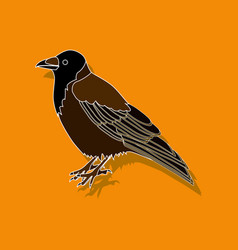 Raven paper sticker on stylish background vector