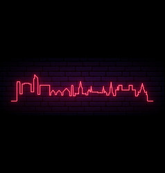 red neon skyline oslo city bright oslo long vector image