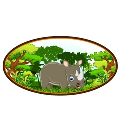 rhino cartoon with forest background vector image