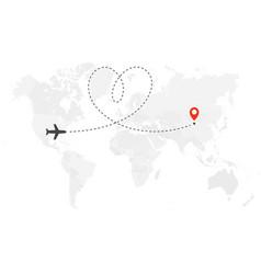 Romantic or honeymoon trip airplane line path vector