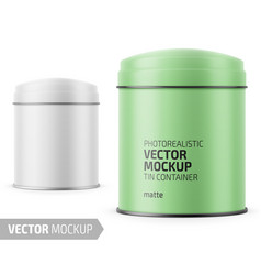 round matte tin can template with label vector image