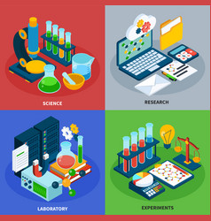 Science isometric concept icons set vector