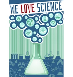 Science poster with lab equipment vector