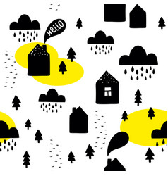seamless pattern with black houses on the white vector image