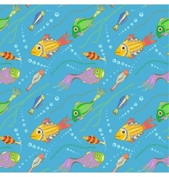 Seamless pattern with fishes seaweeds and bubbles vector