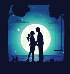 Secret date couple man and woman at night vector