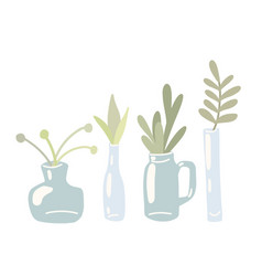 Set flat hand drawn glass vases and cans with vector